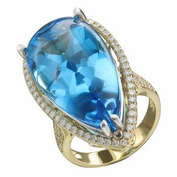 """""""Limited-Edition"""" Collection 18k Yellow Gold Diamond Halo and Swiss Blue Topaz Center Cocktail Ring"""