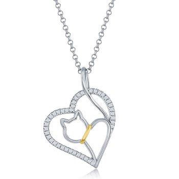 Sterling Silver CZ Heart with Center Cat Cut-Out Pendant