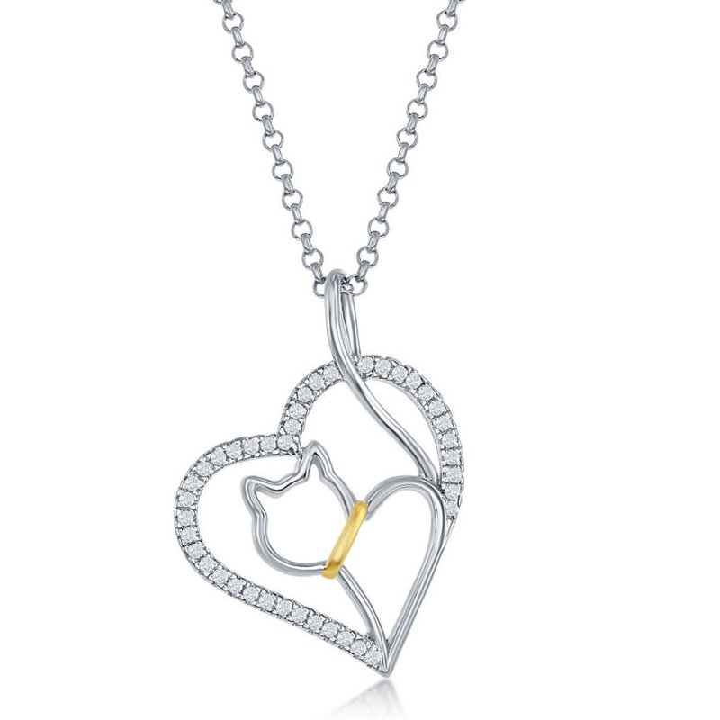 Fashion Jewelry Collection Sterling Silver CZ Heart with Center Cat Cut-Out Pendant