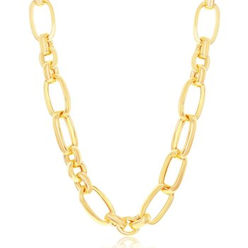 """- Bella Moda Sterling Silver w/14K Yellow Gold Overlay Large Small Mixed Link Necklace - 18"""""""