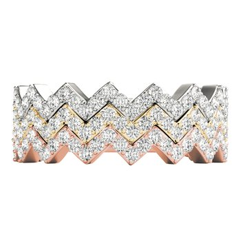 1/3ctw. Diamond Anniversary Wedding Stackable Zig Zag Ring Band