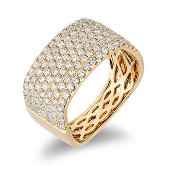 - 14k Yellow Gold Diamond Wide Anniversary Band Ring