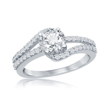 Sterling Silver Round CZ Accented Bypass Split Shank Engagement Ring
