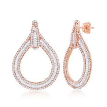 - Sterling Silver 14k Rose Gold Plated Set with Baguette and Round CZ Stones Teardrop Earring Pair
