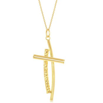 Sterling Silver Diamond-Cut Two Cross Pendant