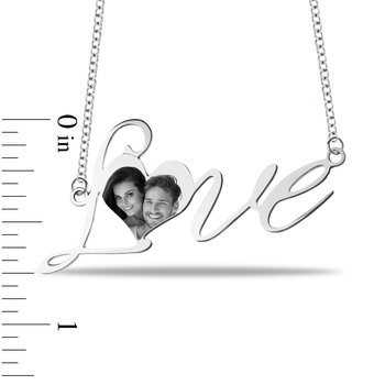 - Love 32x12mm Customized Photo Picture Chain Name Necklace