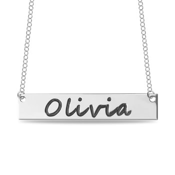 Engravable Customized 40x8mm Bar Name Pendant Necklace