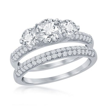 - Sterling Silver 3-Stone CZ Stones Accented Wedding and Engagment Ring Set