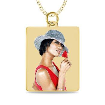 - Medium Rectangle Laser Enameled Customized Engravable Photo Picture Pendant