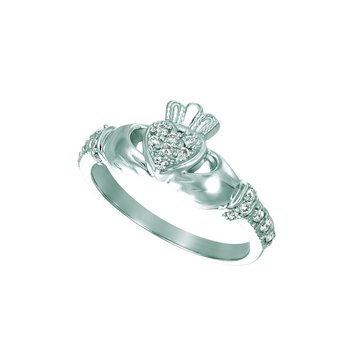 14k Gold 0.25ctw. Diamond Irish Heart with Crown Claddagh Representing Love-Loyalty-Friendship Ring