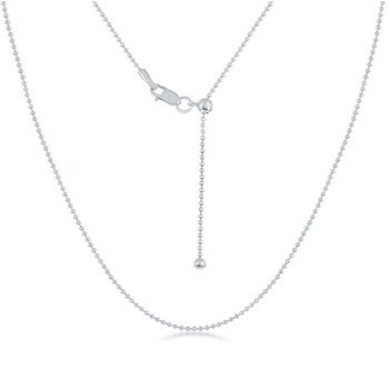 "Sterling Silver 1mm Beaded Chain 14""-22"" Adjustable Necklace"