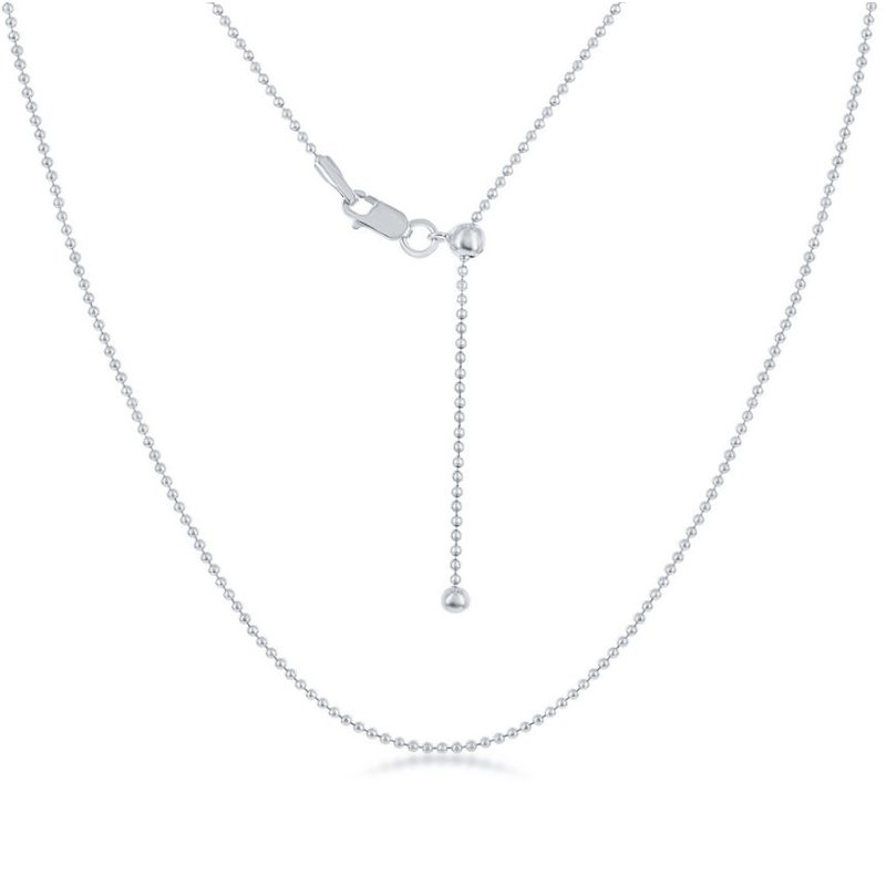 """Fashion Jewelry Collection Sterling Silver 1mm Beaded Chain 14""""-22"""" Adjustable Necklace"""