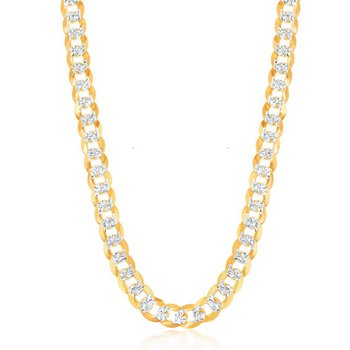 - Sterling Silver 14k Yellow Gold Plated 7.3mm Flat Pave Curb Cuban Chain Necklace for Men