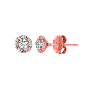 14k Rose Gold 0.33ctw. Diamond Halo Round Solitaire Stud Earrings