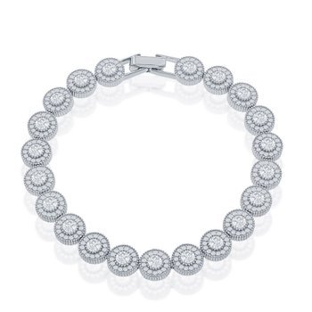 Sterling Silver Micro Pave Round CZ Halo Tennis Bracelet