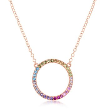 """- Sterling Silver Multi-Color Rainbow Round CZ Circle of Life Necklace - 16"""""""