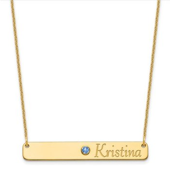 """14k Gold Personalized 38.1x5.8mm Birthstone Bar Name Pendant with 18""""x1mm Chain Necklace"""