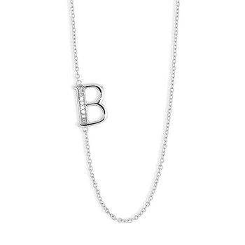 """- Sterling Silver Set with Round CZ Stones Off-Center Letter Initial Chain Necklace - 16"""""""