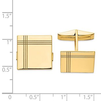 14k Yellow Solid Gold 16.3mm Square Grooved Design Engravable Personalized Men's Cuff Links