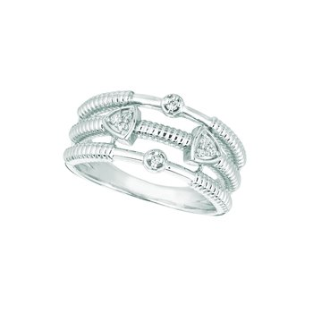 14K White Gold 0.09ctw. Diamond Triangle & Round Cluster Negative Space Cocktail Anniversary Band Ring