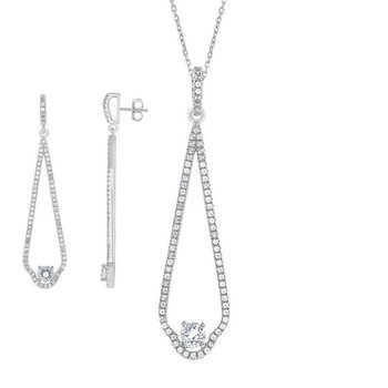 - Bellissima Sterling Silver 7.80ctw. White Topaz Gemstone Necklace and Earrings Set