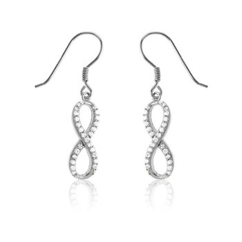 Sterling Silver Set with White CZ Stones Infinity Earring Pair