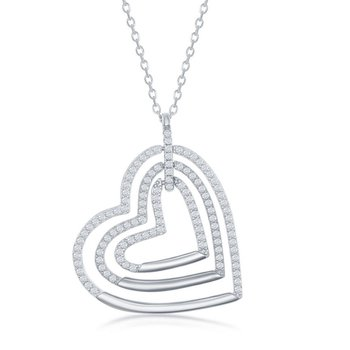 Sterling Silver Triple Open CZ Heart Pendant Chain Neckalce
