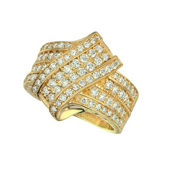 14K Gold 1.52ctw. Diamond Cluster Bypass Cocktail Anniversary Band Ring