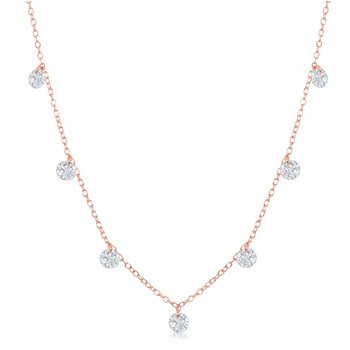 Sterling Silver Hanging Cubic Zirconia Station Chain Necklace