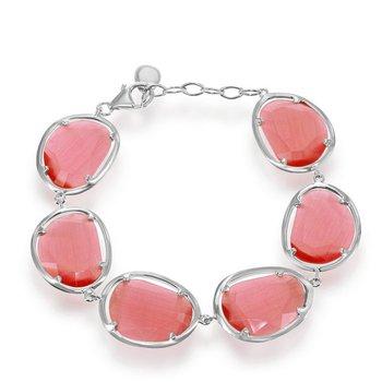 "- Simona Sterling Silver Watermelon Cat's Eye Bracelet - 7.50"""