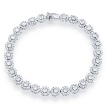 Sterling Silver Halo CZ Tennis Bracelet