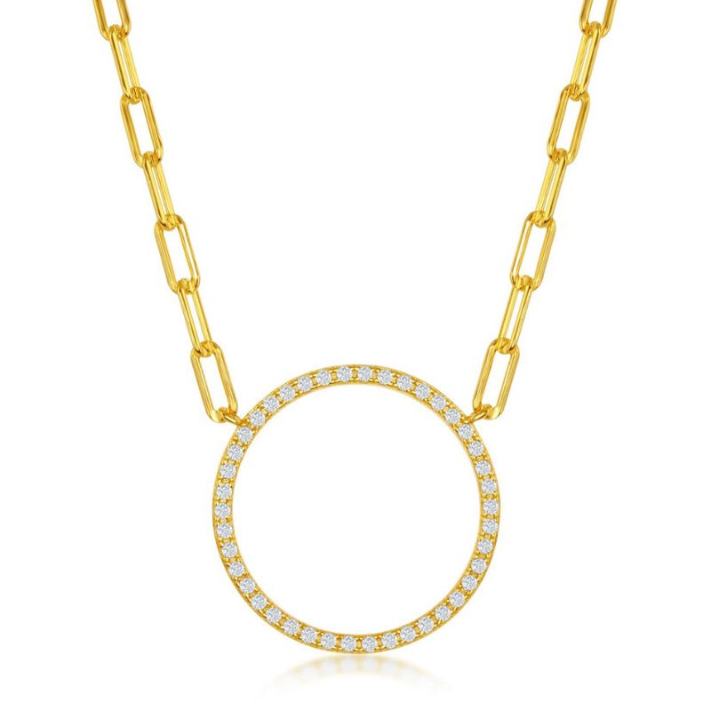 """Fashion Jewelry Collection Sterling Silver Circle of Life CZ Stones Elongated Paper Clip Style Cable Link Chain Necklace - 16"""""""