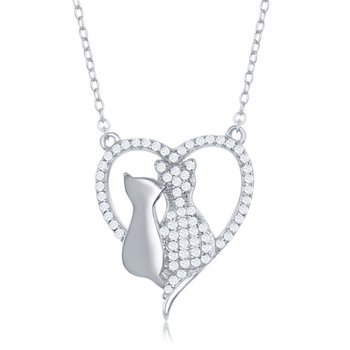 Sterling Silver CZ Heart with Two Center Cats Chain Necklace