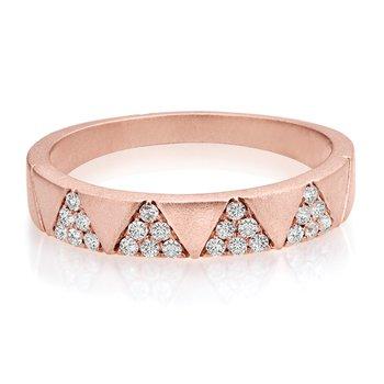 - 1/5ct. Diamond 14k Rose Gold Anniversary Wedding Band Ring