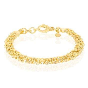 "- Bella Moda Sterling Silver w/14k Yellow Gold Overlay Byzantine Link Bracelet - 7.50"""