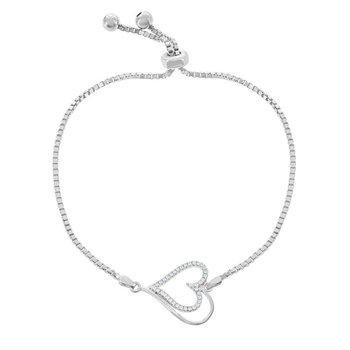 Sterling Silver Box Chain with Center Open CZ Heart with Beads Adjustable Bolo Bracelet