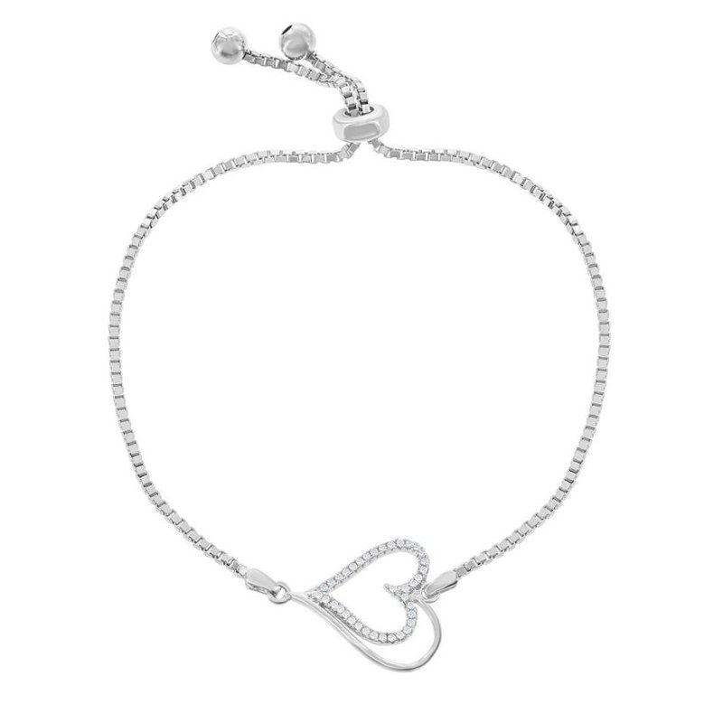Fashion Jewelry Collection Sterling Silver Box Chain with Center Open CZ Heart with Beads Adjustable Bolo Bracelet