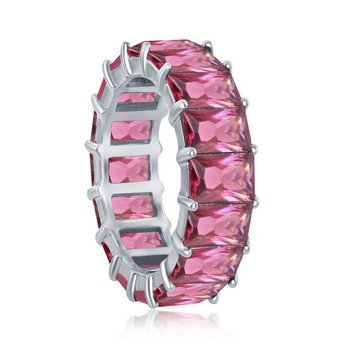 Sterling Silver 6mm Pink CZ Emerald-Cut Eternity Band Ring