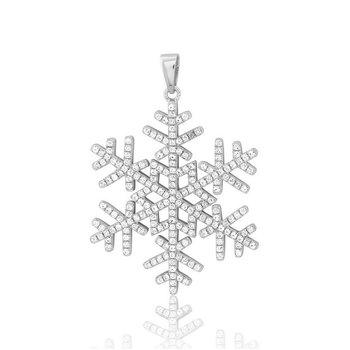 - Sterling Silver Precision Micro-Pave Set CZ Snowflake Pendant