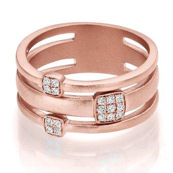 1/8ct. Diamond 14k Rose Gold Triple Ring Design Matt Finish Right Hand Ring Band