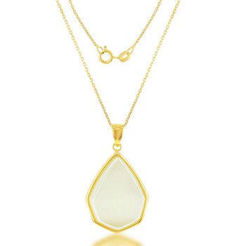 """- Simona Sterling Silver 14k Yellow Gold Plated Nude Yellow Cat's Eye Teardrop Pendant Necklace - 17"""""""