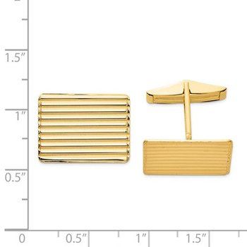 14k Yellow Solid Gold 19.5x15mm Rectangle Grooved Engravable Personalized Men's Cuff Links