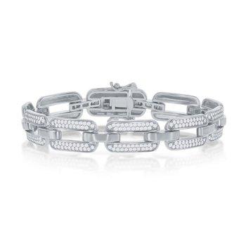 "Sterling Silver CZ Stones Link Chain Bracelet - 7.25"""