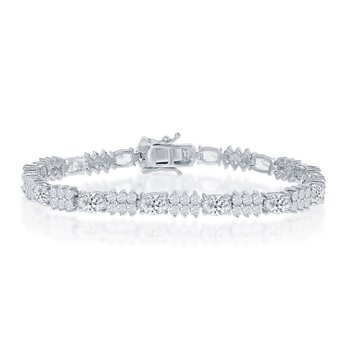 Sterling Silver Oval and Round CZ 4mm Tennis Bracelet
