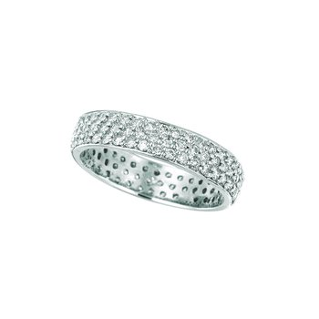 14K White Gold 1.03ctw. Diamond 3-Row Eternity Anniversary Wedding Band