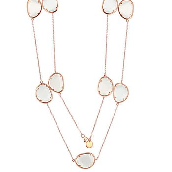 """- Simona Sterling Silver 14k Rose Gold Plated with White and Light Blue Cat's Eye Neckalce - 38"""""""