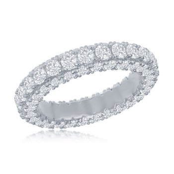 Brilliance Sterling Silver All Around Triple Row CZ Eternity Band Ring