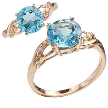 - 14k Rose Gold Diamond and 1.96Ct. Swiss Blue Topaz Gemstone Cocktail Ring