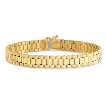 "14K Yellow Gold Satin & Polished 8mm Link Chain Bracelet - 8"""