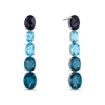 - 14k White Gold Swiss & London Blue Topaz and Iolite Gemstones Dangle/Drop Earrings